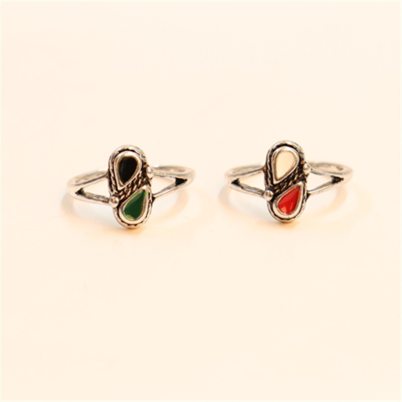 Fashion Water Droplets Shape Ring Antique Style Woman Rings Drip Color Midi Ring Free Shipping