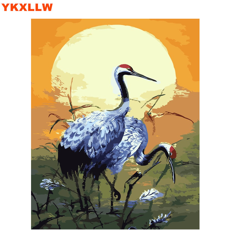 Hand Painted Birds Red Crowned Crane Painting By Numbers