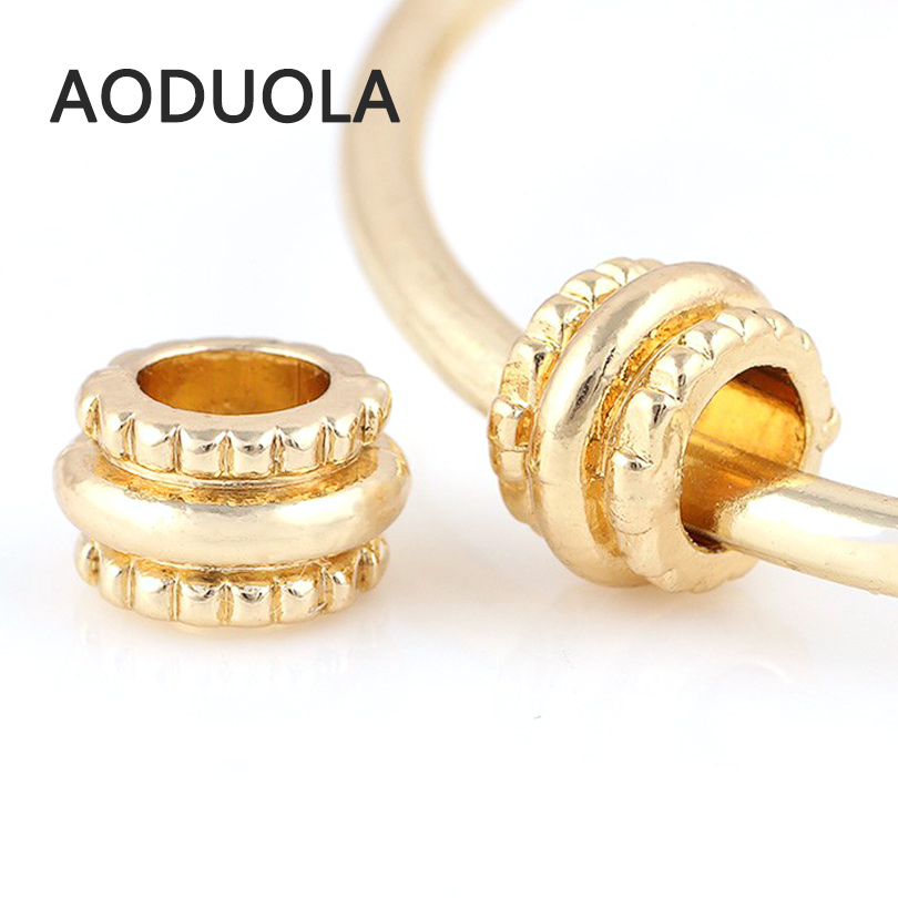 10 Pcs a Lot Big hole Gold-Color Alloy Beads Spacer DIY Beads Large hole Chunky Charm Bead Fit For Pandora Charms Bracelets