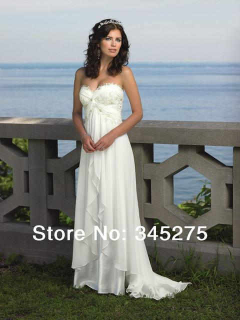In Stock New White Chiffon Empire Beach Wedding Dress Sweep Train Bridal Gown Size 6-8-10-12-14-16