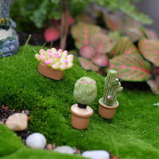 5Pcs Mini Artificial Fleshy Cactus Plant Real Touch Palm Bonsai Landscape Decorative Flower Talbe Decoration Resin Miniature 6