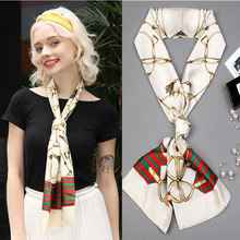 Women long silk scarf korean new printing fashion women neck satin scarves japanese for bussiness party gift girl