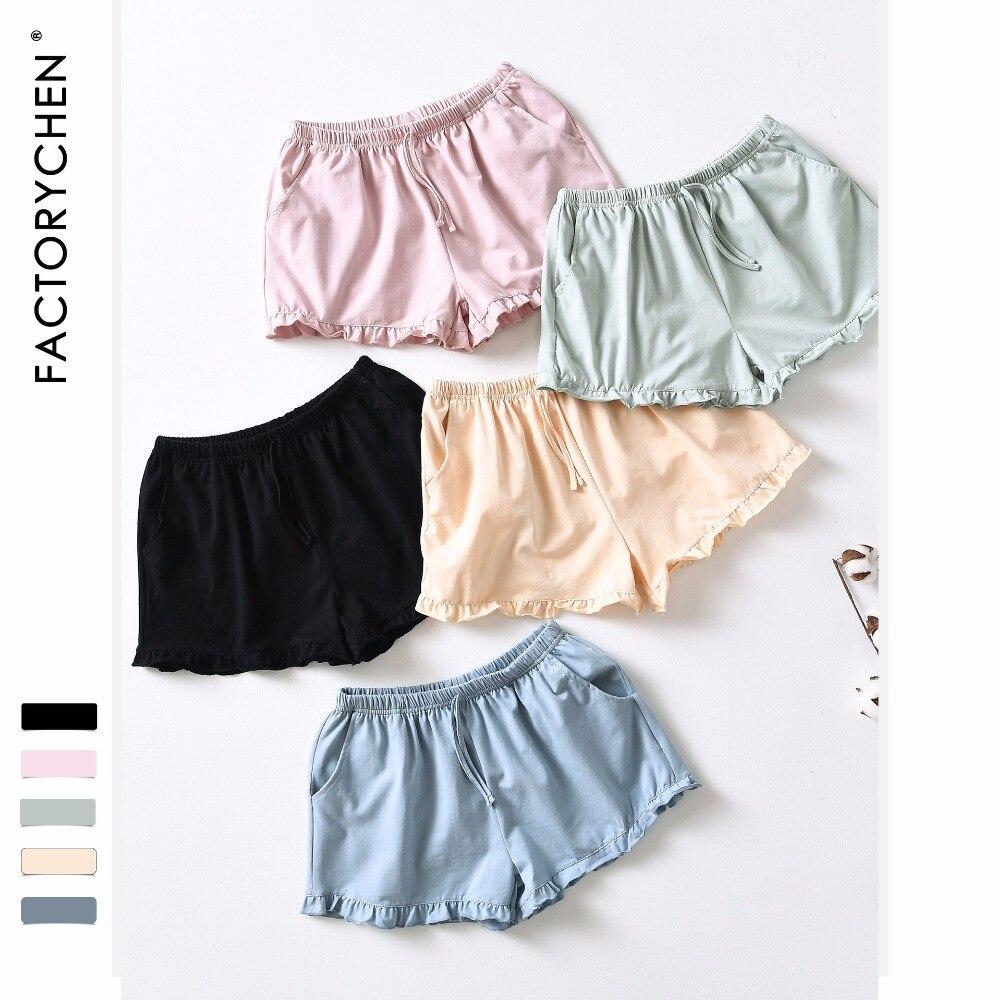 Summer Pure Color Simple Women Sleep Bottoms Simple Natural Cotton Ladies Pajamas Home Pants 5 Colors Lace Shorts Sexy Lingerie