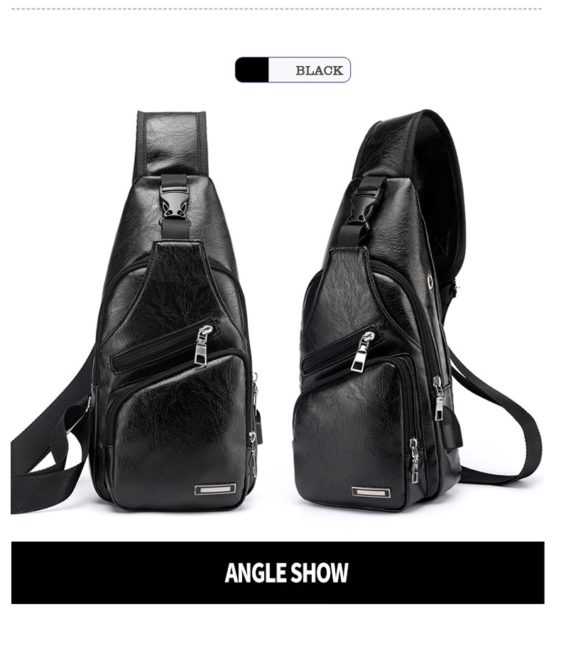 Men's Crossbody Bags Men's USB Chest Bag Designer Messenger bag Leather Shoulder Bags Diagonal Package 2019 new Back Pack Travel 3