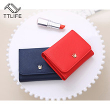 TTLIFE Women Fold PU Leather Wallet 2019 Lady Girl Wallets Crown Decorated Mini Money Purses Small Female Coin Purse Card Holder leftside designer pu leather women cute short money wallets with zipper female small wallet lady coin purse card wallet purses
