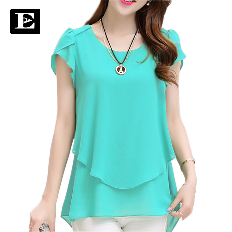 Womens double irregular solid shirts Women Chiffon blouses 2018 New Summer style Fashion casual ladies Tops Plus Size XXXXXL