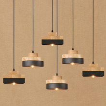 Simple Fashion Modern Solid Wood Iron Metal Pendent Light Black European Style Single Head E27 Restaurant Cafe Chandelier Decor