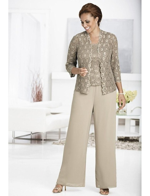 Elegant Mother Of The Bride Pant Suits Chiffon Pants Suit Wedding With Lace Jacket Three Pieces