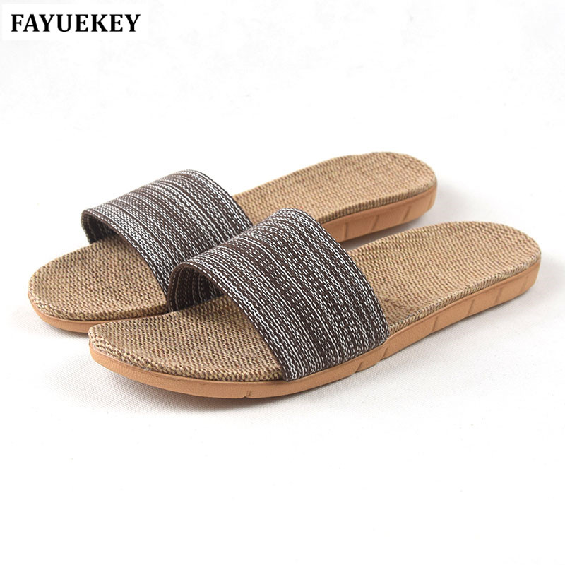 FAYUEKEY New Fashion Summer Home Linen Non-slip Breathable Slippers Men Indoor\Floor Beach Boys Open-toed Slippers Slides Shoes new 2017 fashion flax slippers men summer couple indoor home slippers male comfortable floor slippers home men hemp slides