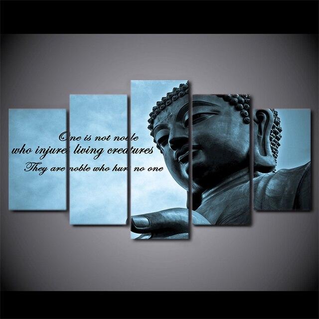 5 pcs set framed hd dicetak besar patung buddha zen poster dinding gambar seni kanvas