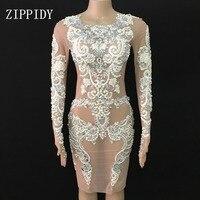 Блестящие жемчуг кружева Сетчатое платье пикантные прозрачные отпраздновать день рождения платья наряд вечерние танец певица наряд