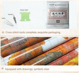 Image 5 - QIANZEHUI, 바느질 작업, DIY 정밀 인쇄 조경 회화 크로스 스티치, 떠오르는 태양 자수 키트 세트 크로스 스티치