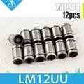 12 PCS LM12UU 12mm (12x21x30mm) Linear Bucha do Rolamento de Esferas Rolamentos Lineares 12mm 3d printer parts peças CNC LM12