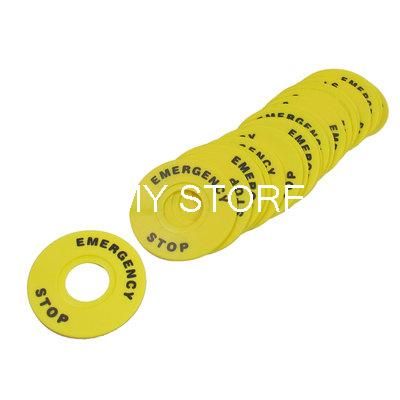 <font><b>60mm</b></font> Outer Diameter 22mm ID Yellow Push <font><b>Button</b></font> Switch Accessory Emergency Stop Warning Legend Mark Sign Round Ring Plate image