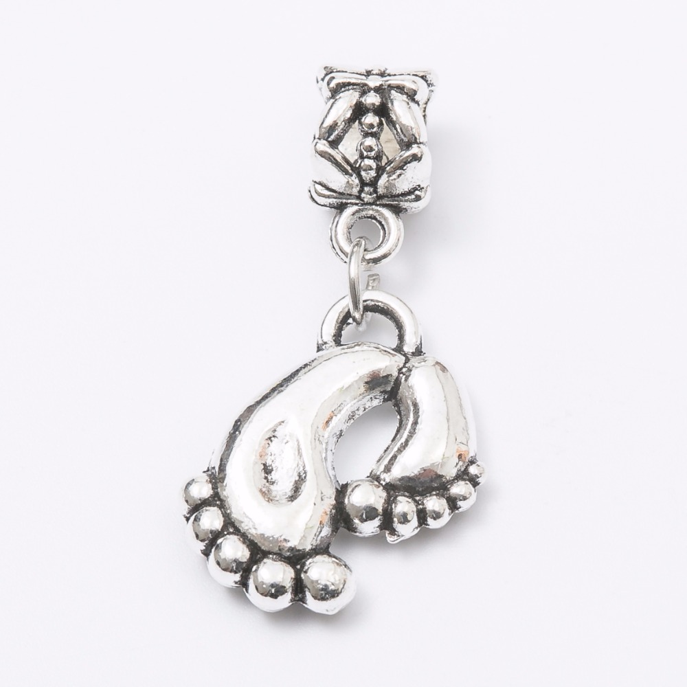 30pcs foot silver Bead fit Pandora charm bracelet DIY dangle Charm for pendants jewelry making JS1060