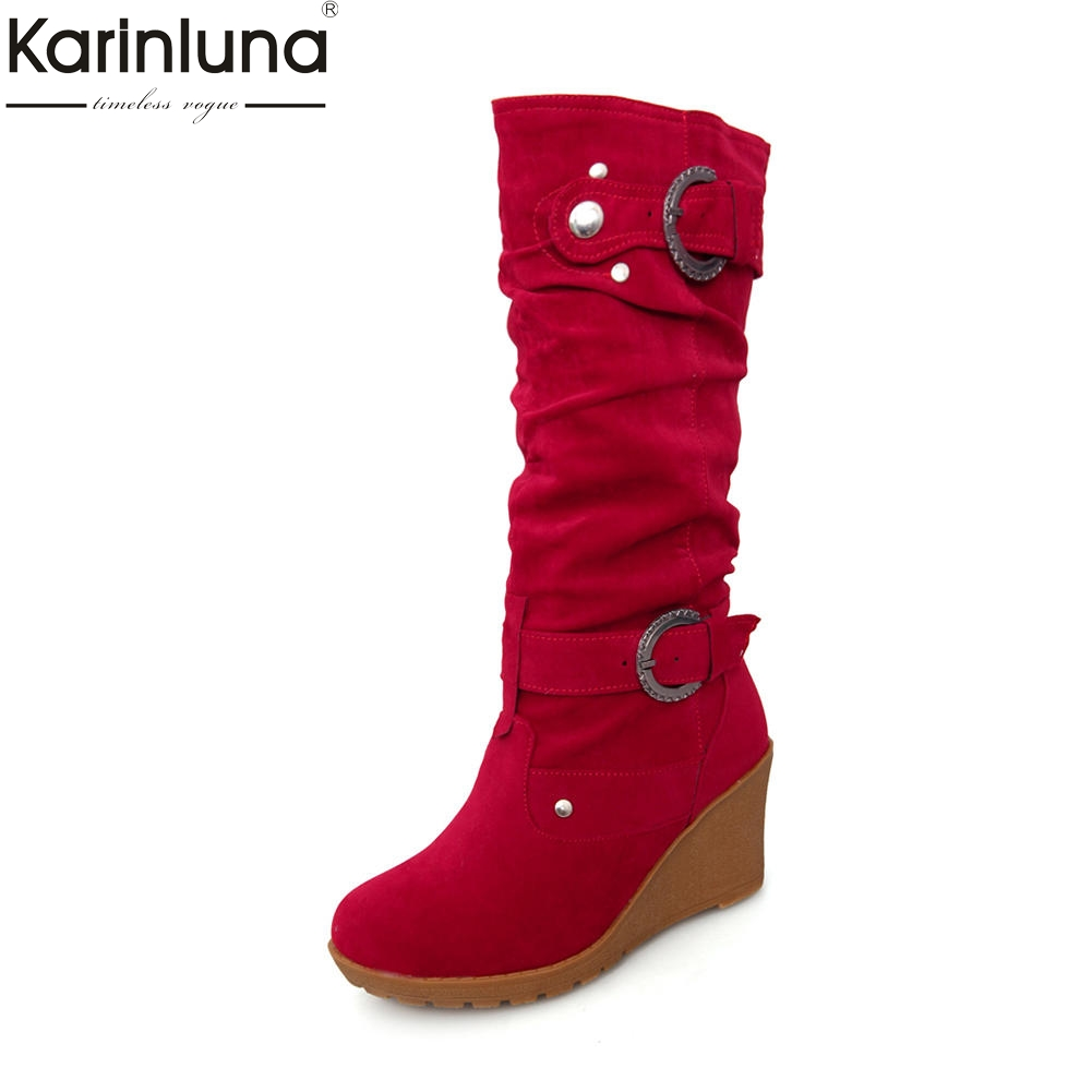 Karinluna New Arrivals Dropship Large Size 34-41 Wedge High Heels Shoes Woman Boots Warm Winter Mid Calf Boots Woman ShoesKarinluna New Arrivals Dropship Large Size 34-41 Wedge High Heels Shoes Woman Boots Warm Winter Mid Calf Boots Woman Shoes