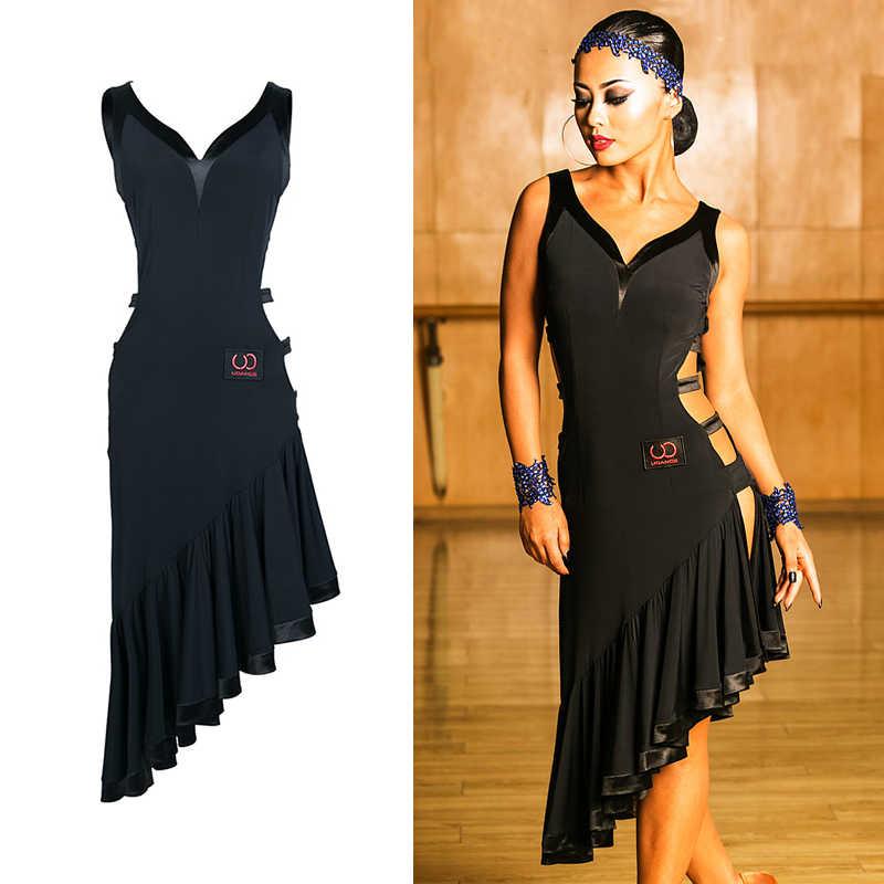 Пикантные костюмы для латиноамериканских танцев платье для танцев женский, черный Танго ча-ча Самба Румба сальса платья Одежда для танцевальных выступлений DC1450