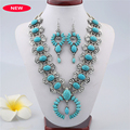 High quality tibetan style women statement vintage resins big turquoise stone necklaces pendants boho ethnic jewelry wholesale