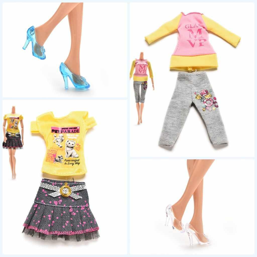 2019 חדש 1 סט חולצות מכנסיים חצאית עבור בובת קריסטל נעלי שונים שקיות עבור 11 אינץ בובות מתנה עבור בנות להעמיד פנים צעצוע לילדים