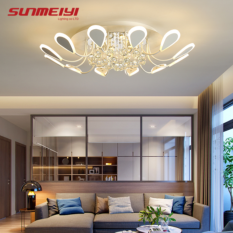 Luxury Creative LED Crystal Ceiling Lights Black Dining Room Lamp Dimmable Ceiling Home Lighting For Living Room Bedroom Cafe