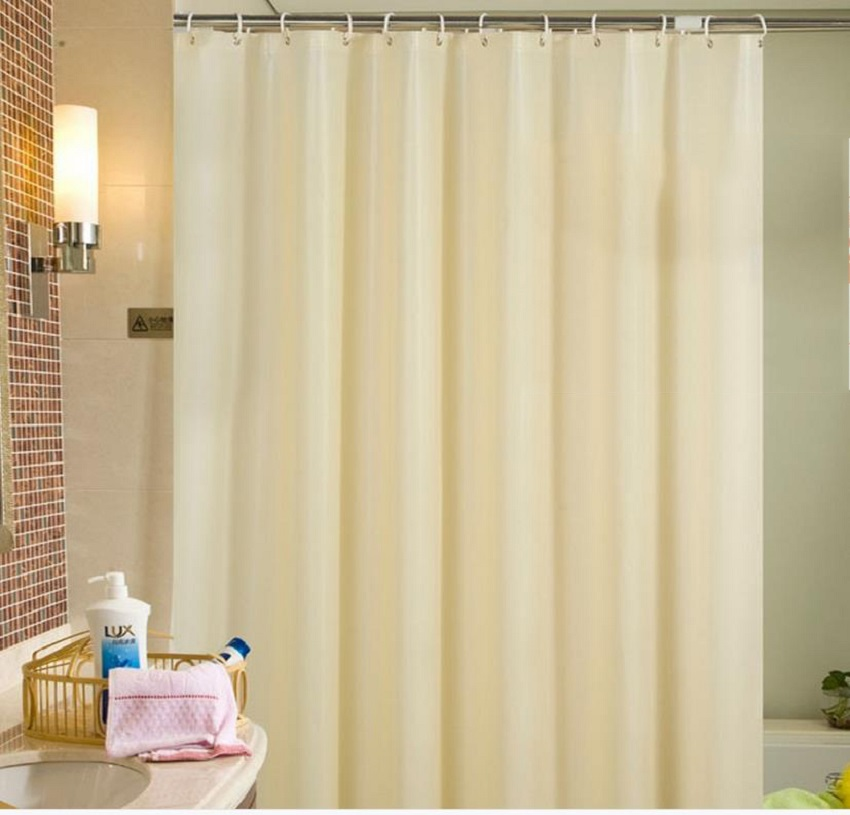 Solid PEVA Shower Curtain Hooks Waterproof Bath BeigeWhitePurple Home Decoration Eco Friendly Bathroom Curtains
