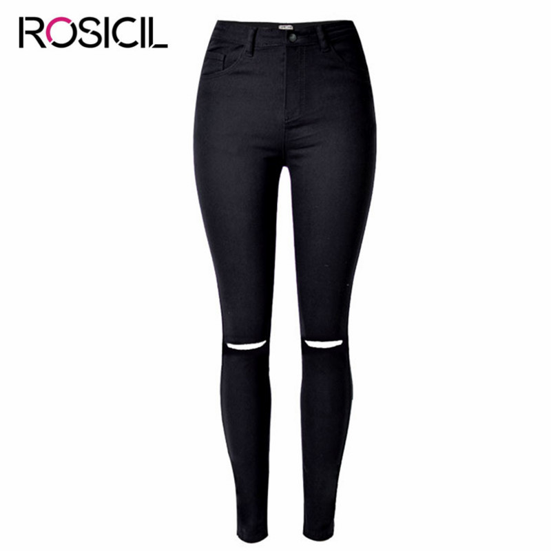 Women High Waist Ripped Jeans New Style Skinny Broken Hole Jeans For Women Stretch Denim Skinny Jeans Women Pencil Pants Femme stylish gradient color broken hole skinny jeans for women