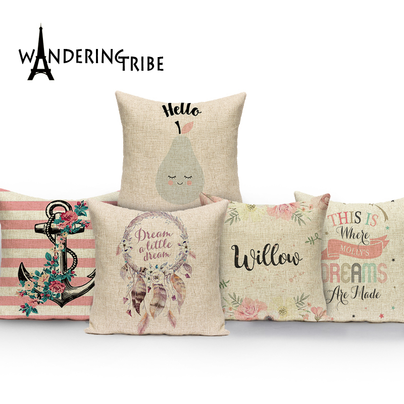 2017 Christmas pillow caseChristmas subtitles elk cotton linen throw 45*45 pillow wholesale Decorative Sofa Soft Cushion Cover