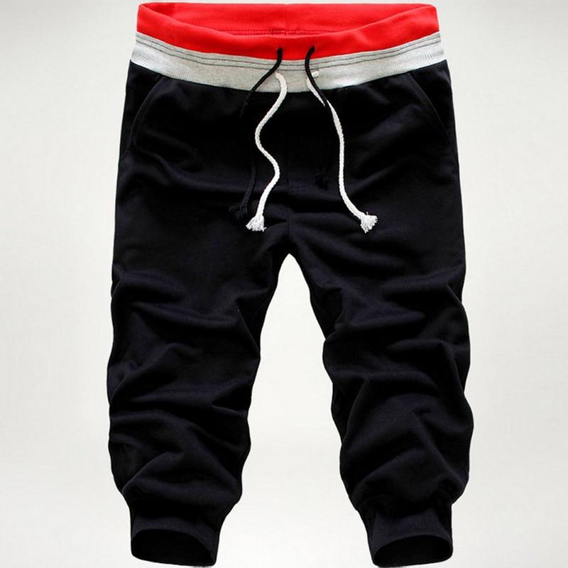 Fashion Men Pants Solid Color Elastic Sweatpants Three Quarter Troursers Boys Casual Beach Pants NYZ Shop