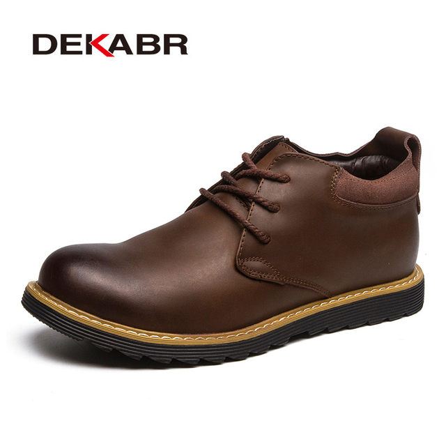 DEKABR New Fashion Autumn Spring Boots High Quality Casual Ankle Boots Lace-Up Round Toe Handmade Work Durable Wear Men Boot