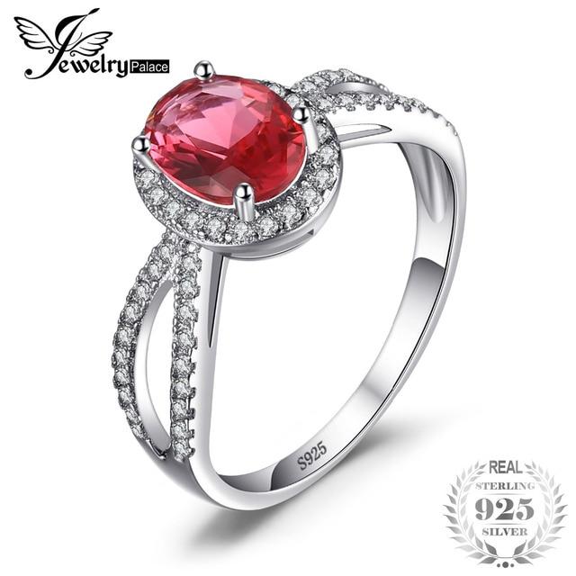 JewelryPalace Women Girls 2.2ct Oval birthstone Pink Sapphire Stud Earrings pieced Sterling Silver ja5xG