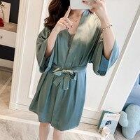 ec901a1d2 Charming Bride Bridesmaid Wedding Robe Women Satin Sleepwear Spring Summer  Kimono Bathrobe Solid Nightgown Home Dressing