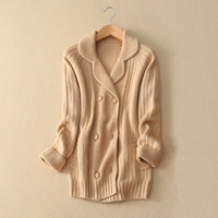 100 Cashmere Thick Women Cardigans Sweater Turn Down Collar 3 Colors Double Breasted Winter Autumn Clothings