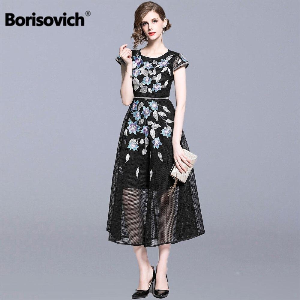 Borisovich femmes d'été élégant robes de fête nouveau 2019 mode angleterre Style luxe broderie femme a-ligne longue robe N1237