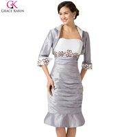 Grace Karin Satin Court Cocktail Dress 2016 De Bal Robe Argent Plus taille Genou Longueur Mère De la Mariée Robes avec Veste 6266