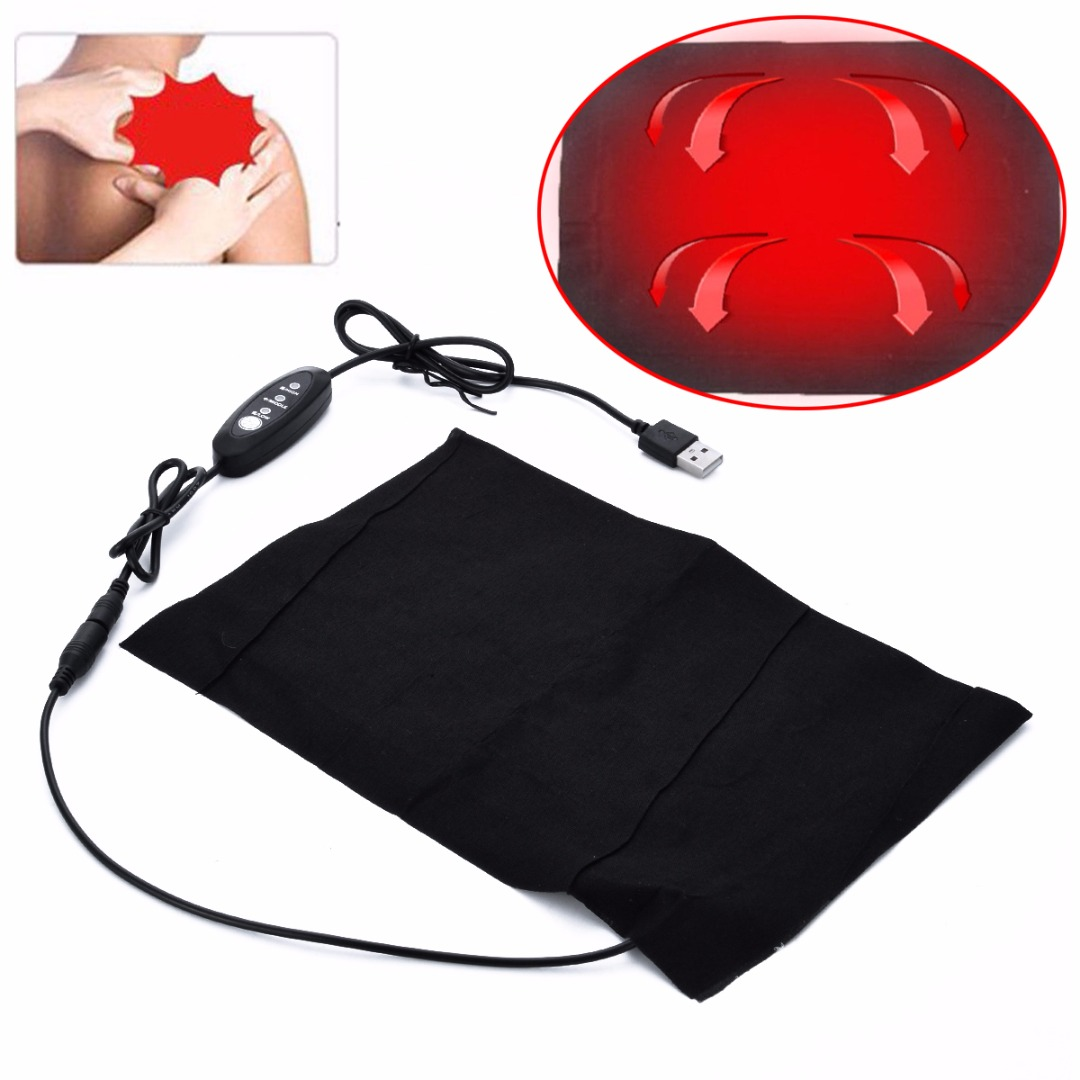 5V USB Electric Heating Pad Black Polyester Cloth 3 Gear Adjusted Temperature For DIY Heated Thermal Vest Jacket Clothing