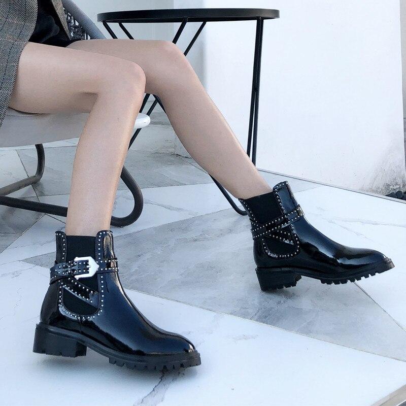 Zapatos Botas Correa Las Ronda Casual De Feminino Pic Hebilla Sapato Pic as Tobillo Mujer As Señoras Cortas Remaches Bota Feminina Toe Nuevos rwxXSq8r