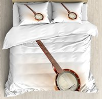 Banjo Duvet Cover Set Traditional Six String Mexican Banjo Popular Country Folk Music Instrument Old Times 4 Piece Bedding Set