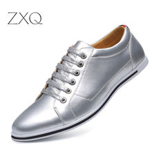 Men Daily Casual Shoes Plus Size 38-48 PU Leather Sneakers Spring Autumn Lace Up Gold Silver Color Footwear 2018 New Arrival