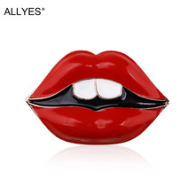 ALLYES Sexy Red Lips Brooches for Women Girls Clothes Collar Lapel Pins Alloy Enamel Brooch Female Jewelry Christmas Gift