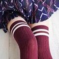 HQ Осень Зима Новый 7 Цвета Женская Мода Полосой Над колено Носки Милые Девушки Принцесса Хлопка Бедро Высокие Гольфы ZHH873