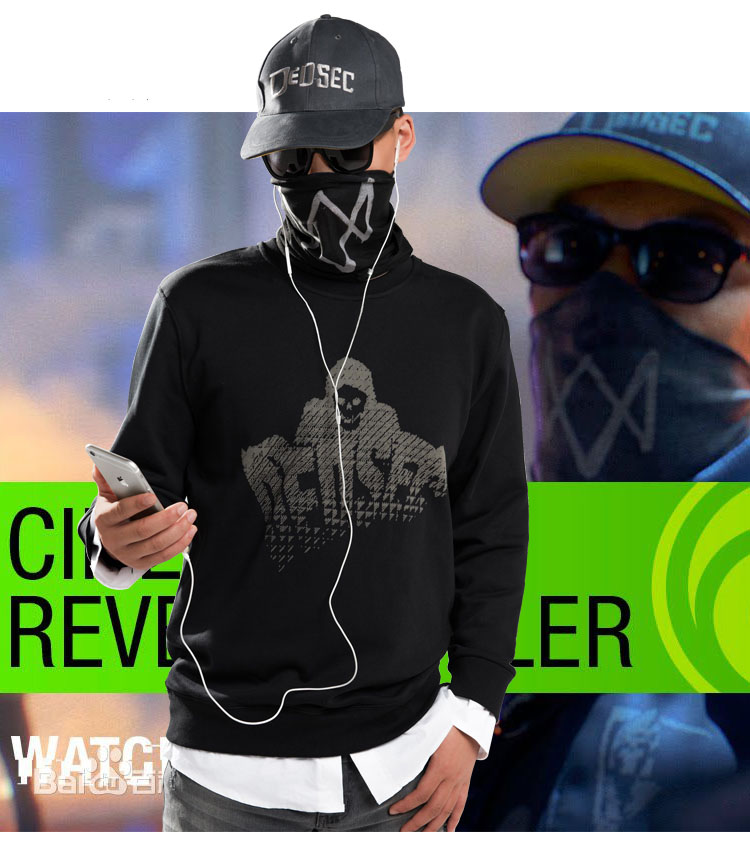 2016 Game Watch Dogs 2 WD2 Marcus Holloway Cosplay Cotton Long Sleeve Mens Casual Print O-Neck Fake Two Piece Inner Shirts