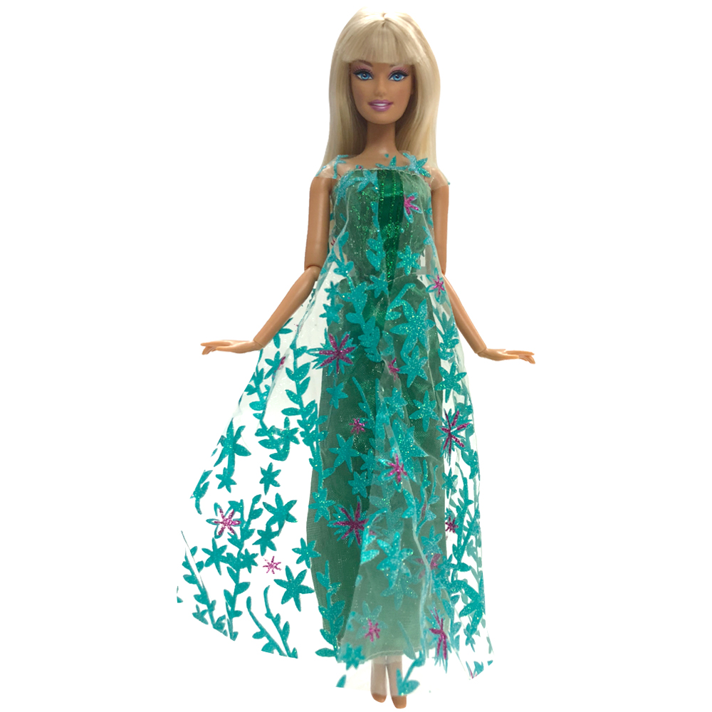NK One Set Princess Doll Elsa Movie Similar Dress Fairy Tale Wedding Dress Gown Party Outfit For Barbie Doll Best Girls' Gift 2 items 1dress 1 set accessories 1pair earing 1necklace little girls s gift luxurious wedding dress for barbie doll