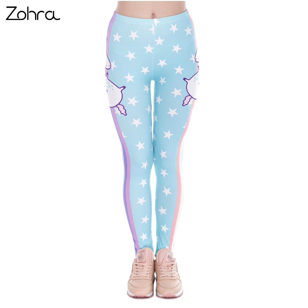 Zohra Fashion Design Women Legins Unicorn Stars Printing Cozy   Legging   Woman High Waist Casual   Leggings