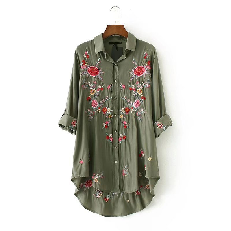 f257add6ad8e56 Vintage Rose Floral Print Embroidery Blouse Long Sleeve Turn down Collar  Shirt Sexy Women Officewear Tops Army Green -in Blouses & Shirts from  Women's ...
