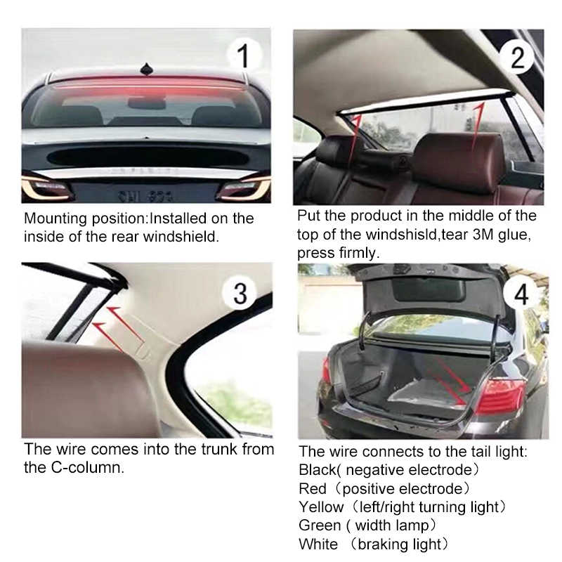 Okeen 12 v flexível vermelho 90/100cm carro adicional led luz de freio do carro terceira luz de freio com condução sinal de volta aviso parar lâmpada