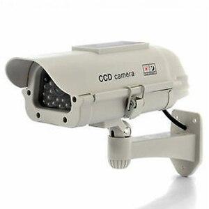 Image 1 - MOOL 2 pcs חיצוני Dummy מצלמה חדש דיור Dummy אבטחת מצלמה שמש כוח לבן LED אלחוטי IR מעקב Dummy Securit