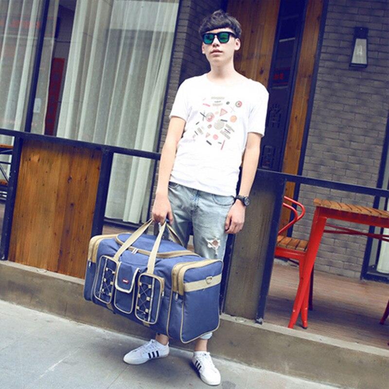 Tjock Canvas Causal Duffle Bag Vattentät Mens Travel Väskor Lång - Väskor för bagage och resor - Foto 6