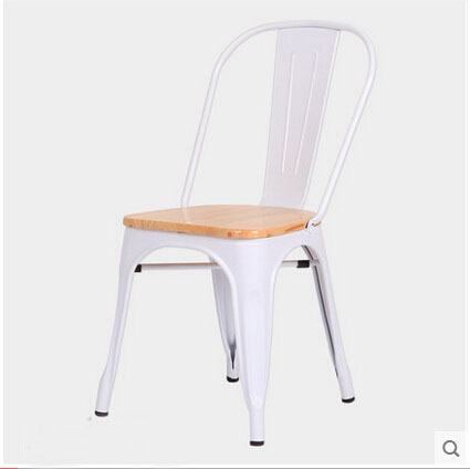 Free Shipping White Side Chair with Oak Wood Seat