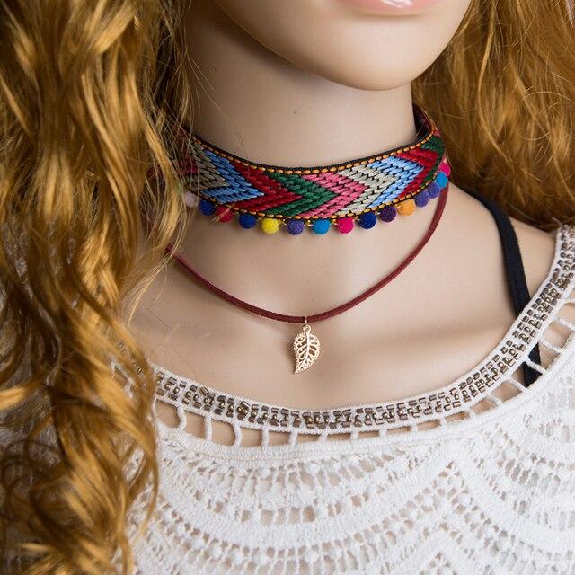 460ed1efb4c9 Étnica Retro de cuero cuerda collar de Gargantilla Collares de moda  colorido hoja colgante collar Shellhard