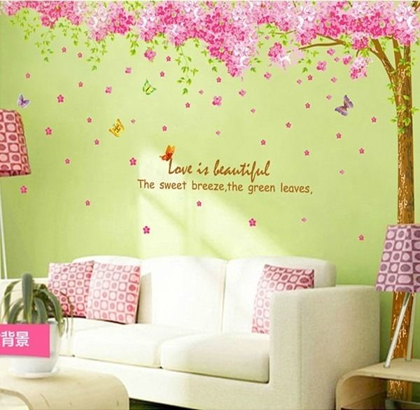 DIY Wall Art Decor Mural Quote Decal Sticker Pink Cherry Blossom ...